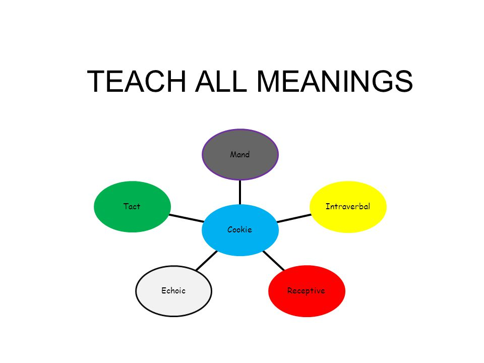 TEACH ALL MEANINGS Tact Echoic Receptive Intraverbal Mand Cookie 10