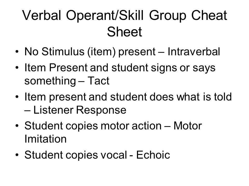 Verbal Operant/Skill Group Cheat Sheet