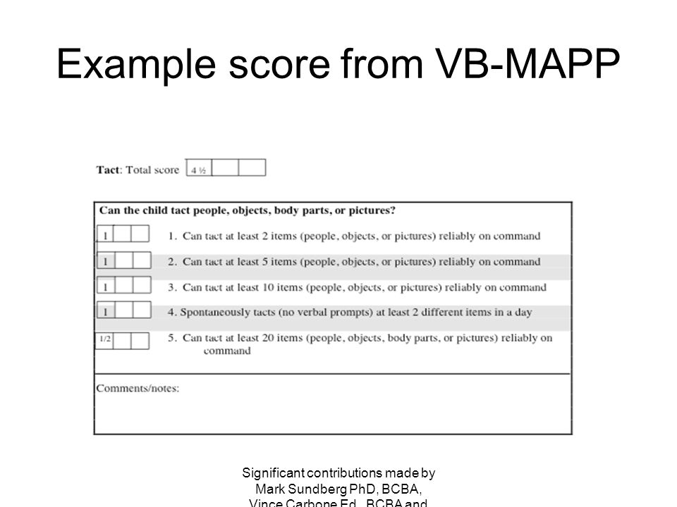 Example score from VB-MAPP
