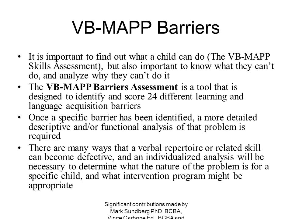 VB-MAPP Barriers