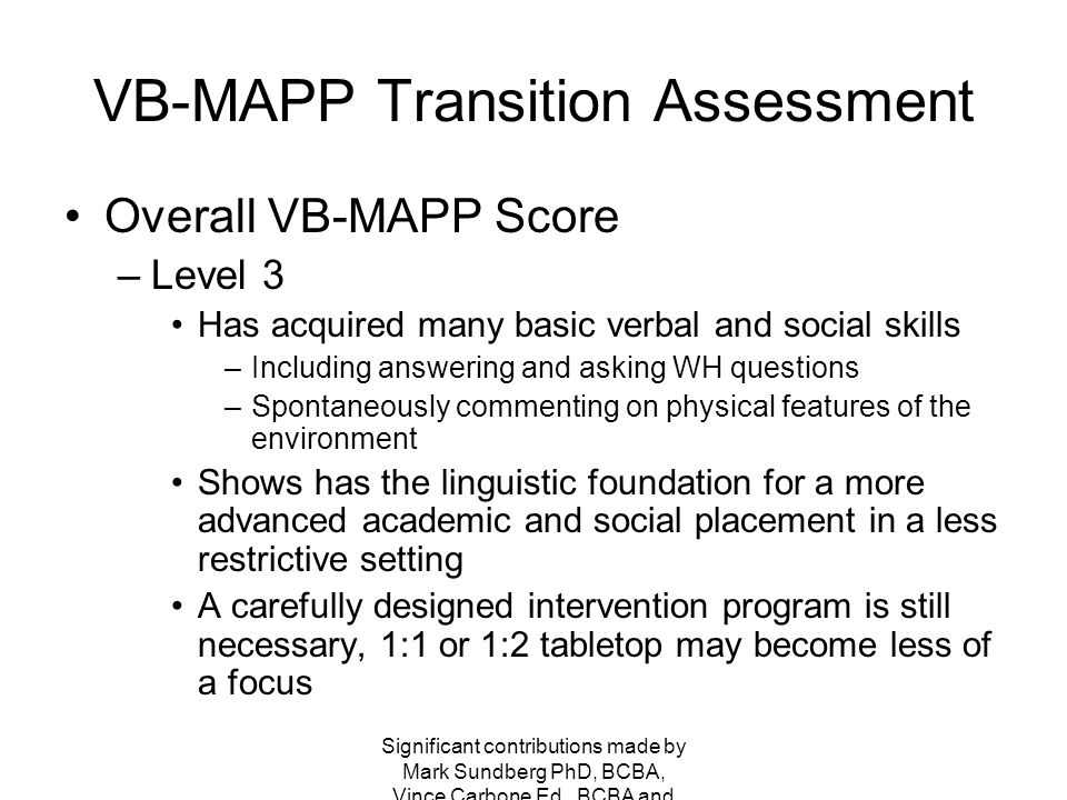 VB-MAPP Transition Assessment