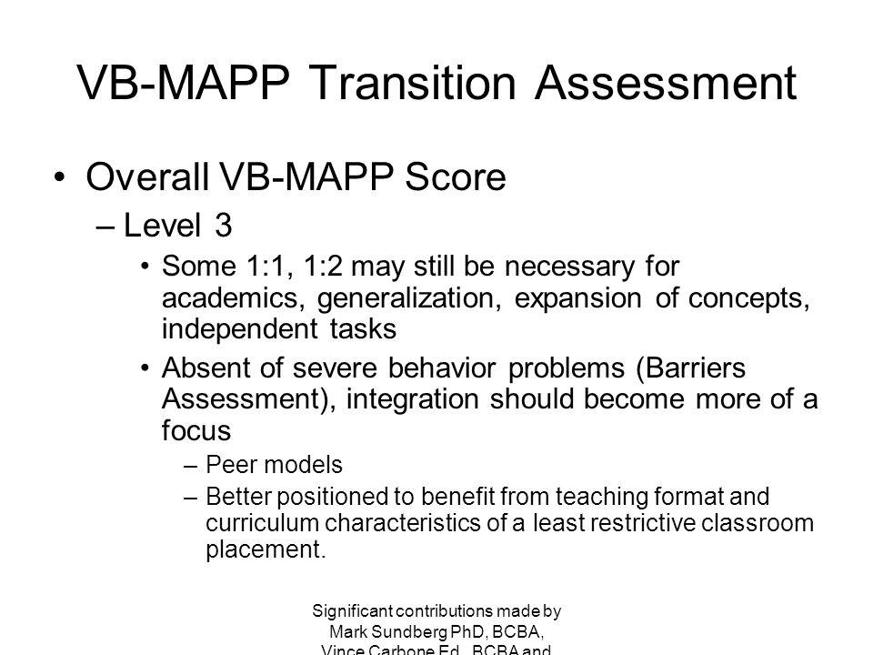 VB-MAPP Transition Assessment