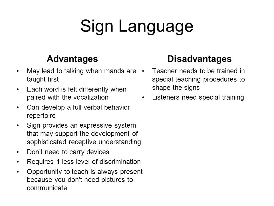 Sign Language Advantages Disadvantages