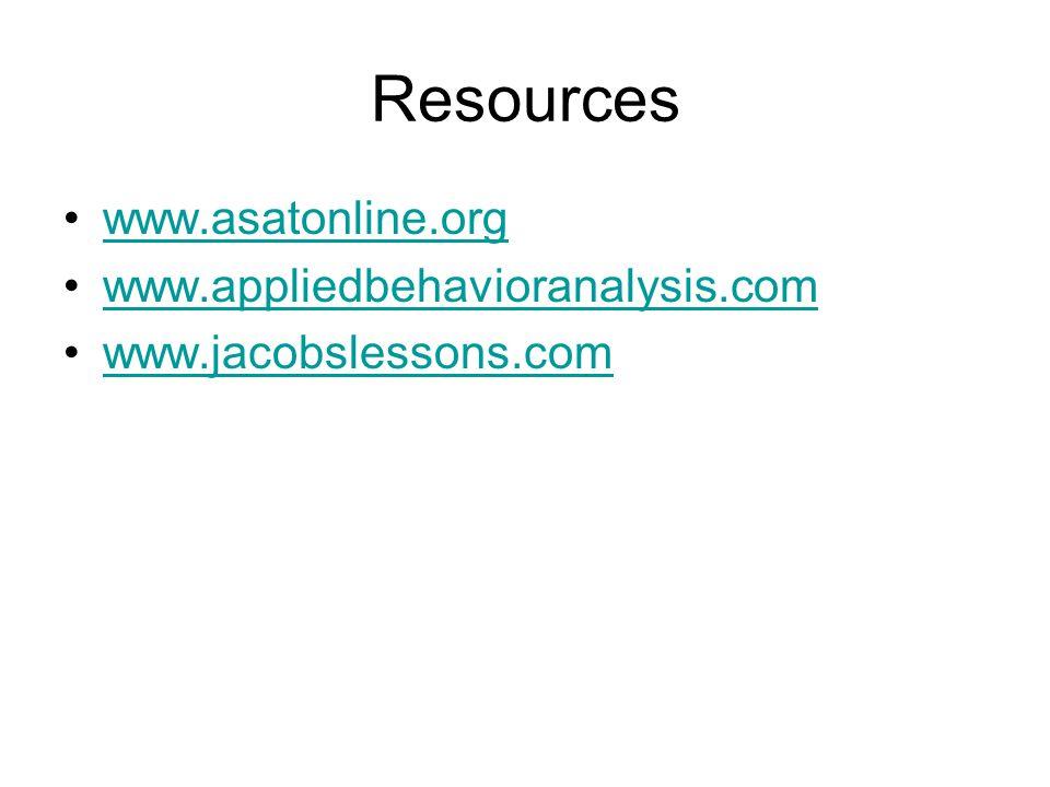 Resources www.asatonline.org www.appliedbehavioranalysis.com