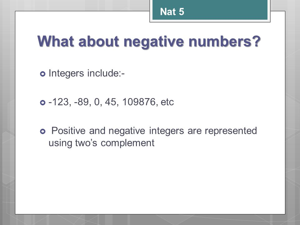 What about negative numbers