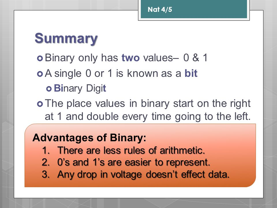 Summary Binary only has two values– 0 & 1