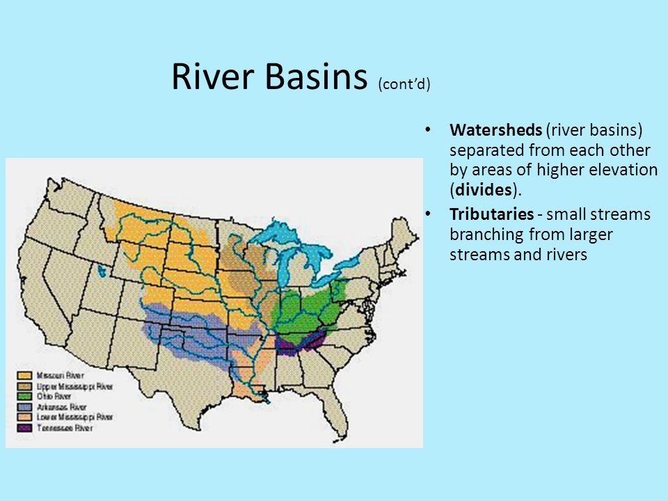River Basins (cont'd) Watersheds (river basins) separated from each other by areas of higher elevation (divides).