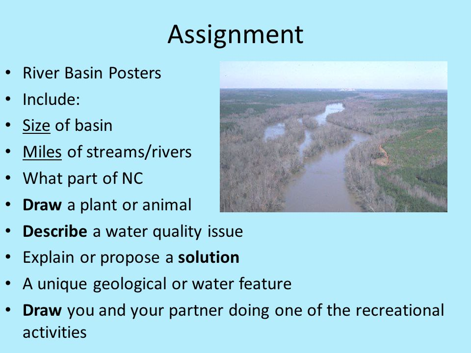 Assignment River Basin Posters Include: Size of basin