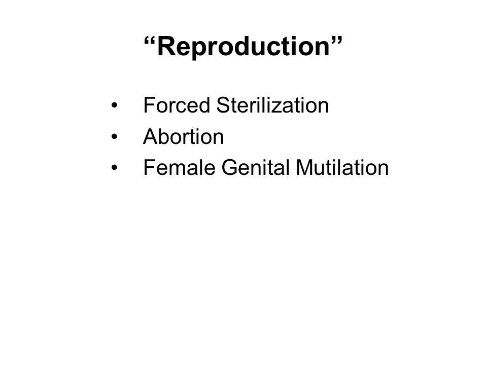 Reproduction Forced Sterilization Abortion Female Genital Mutilation