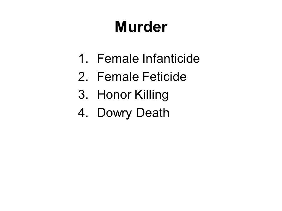 Murder Female Infanticide Female Feticide Honor Killing Dowry Death