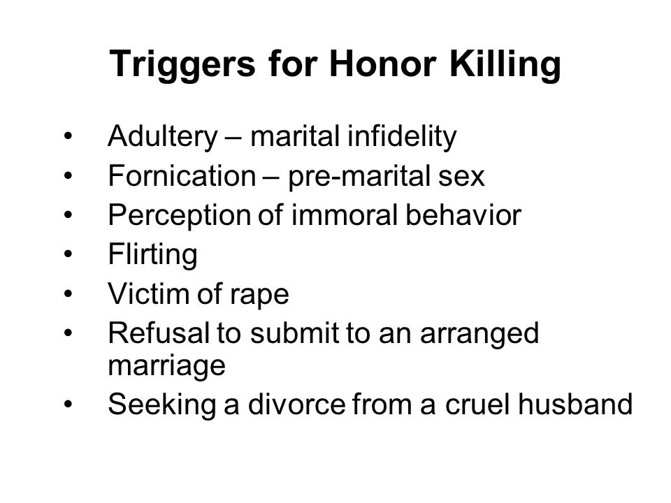 Triggers for Honor Killing