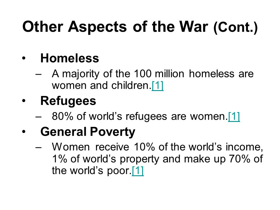 Other Aspects of the War (Cont.)