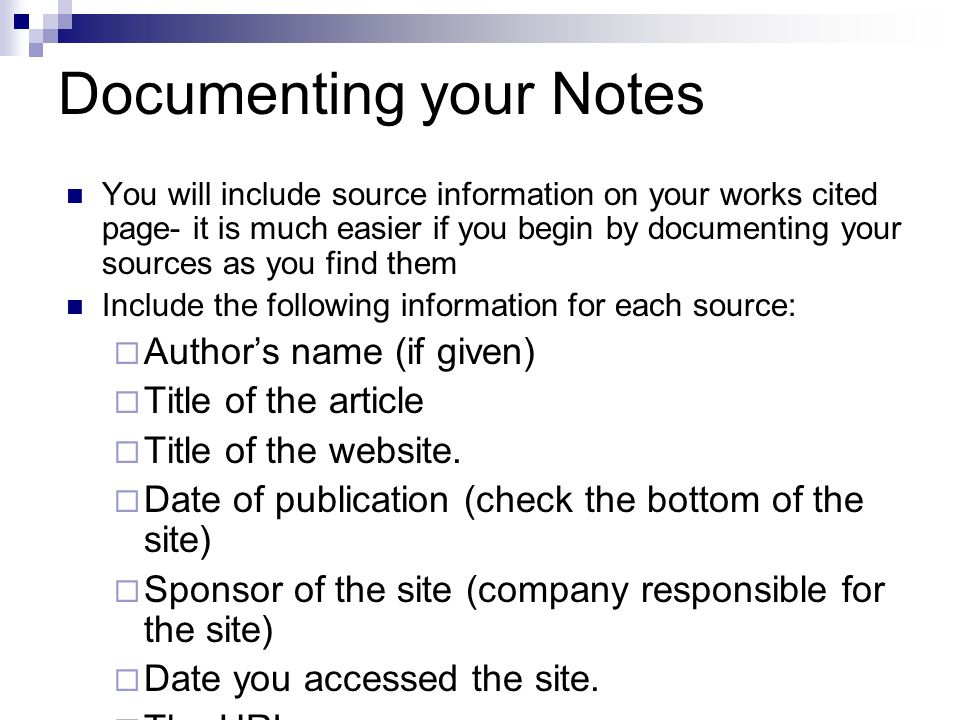 Documenting your Notes