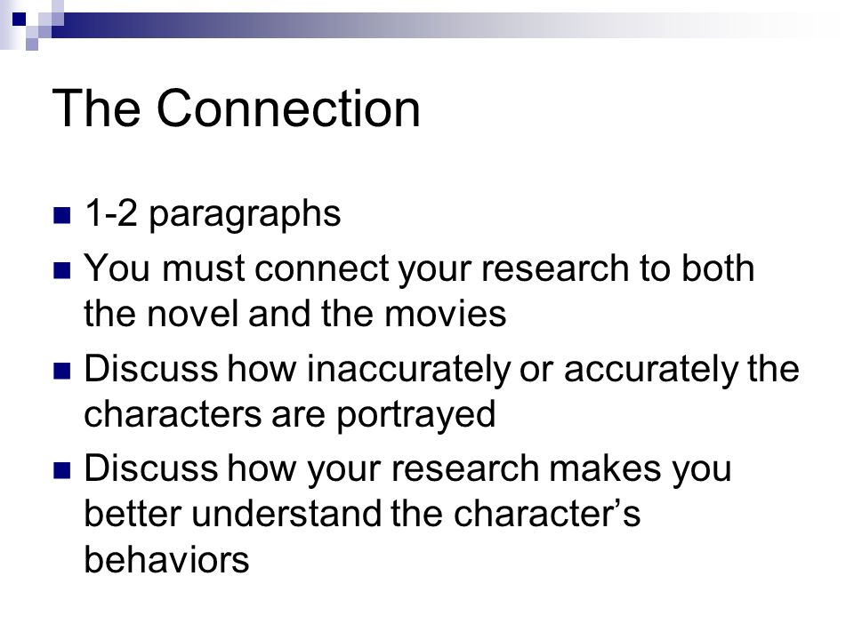 The Connection 1-2 paragraphs