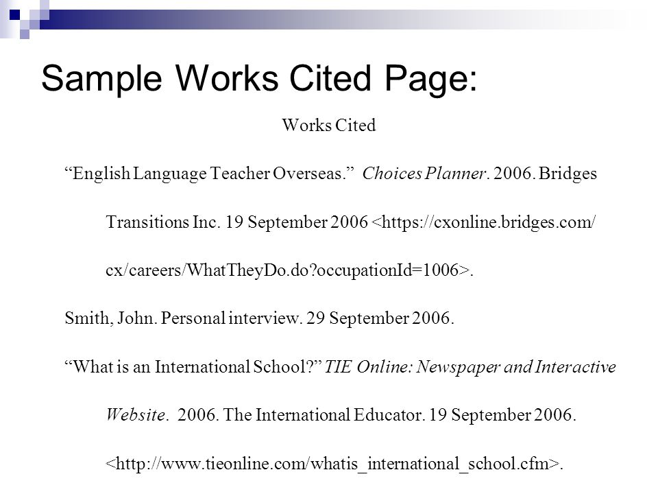 Sample Works Cited Page: