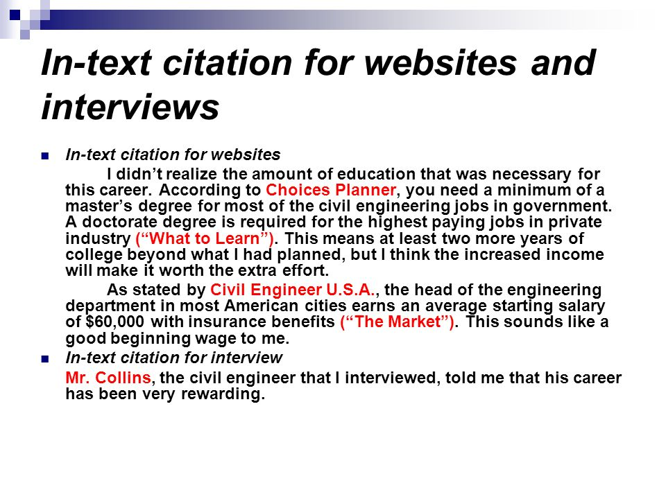 In-text citation for websites and interviews