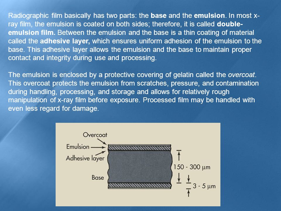 Radiographic film basically has two parts: the base and the emulsion