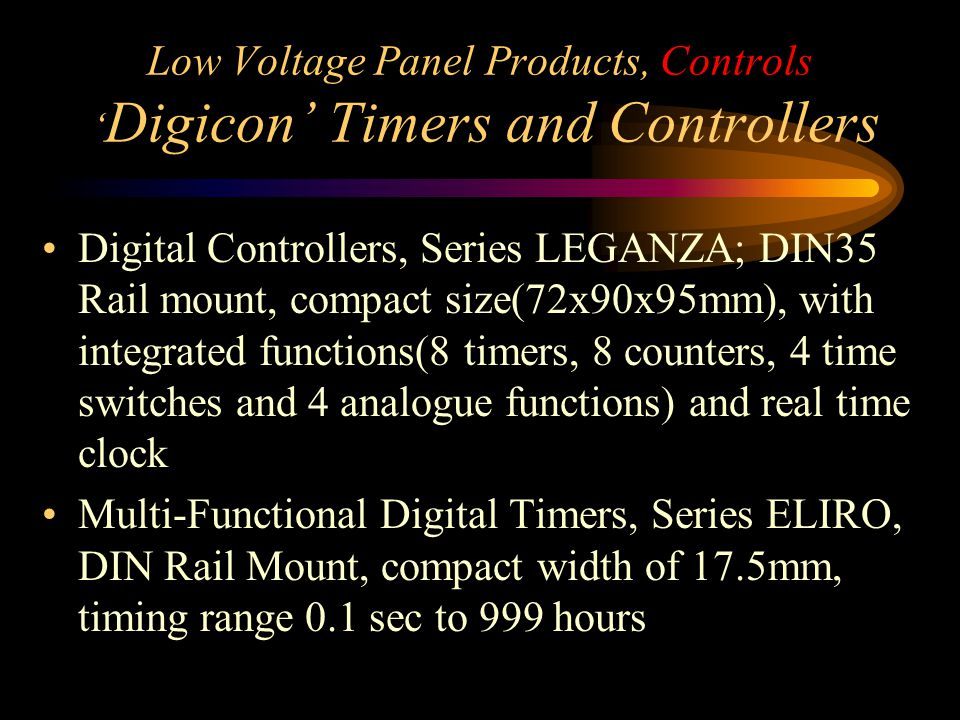 Low Voltage Panel Products, Controls 'Digicon' Timers and Controllers