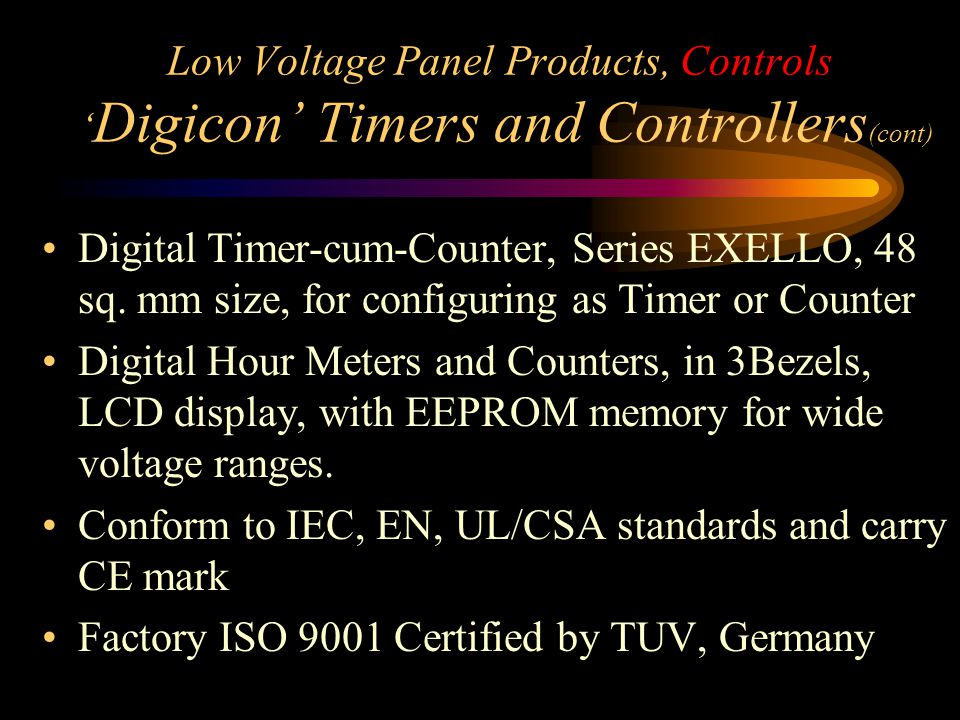 Low Voltage Panel Products, Controls 'Digicon' Timers and Controllers(cont)