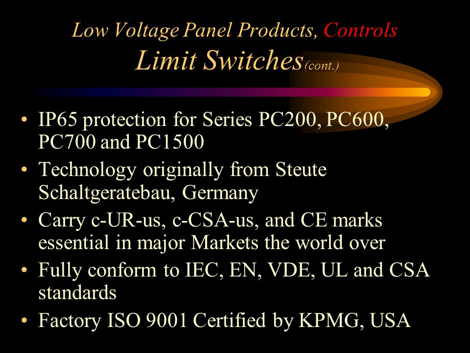 Low Voltage Panel Products, Controls Limit Switches(cont.)