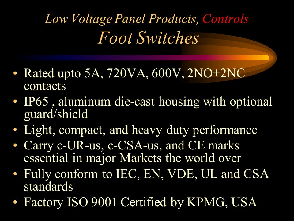 Low Voltage Panel Products, Controls Foot Switches