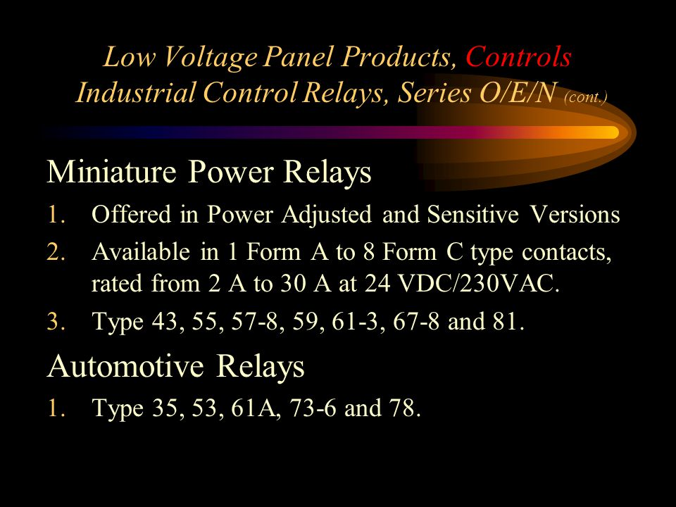 Miniature Power Relays