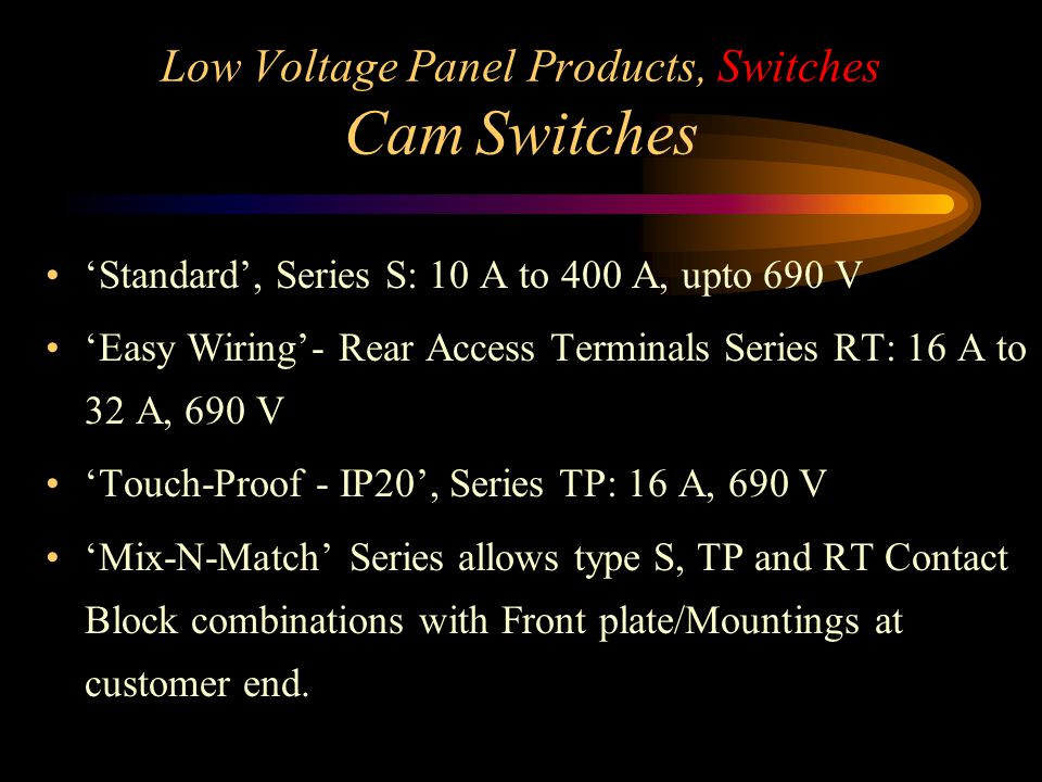 Low Voltage Panel Products, Switches Cam Switches