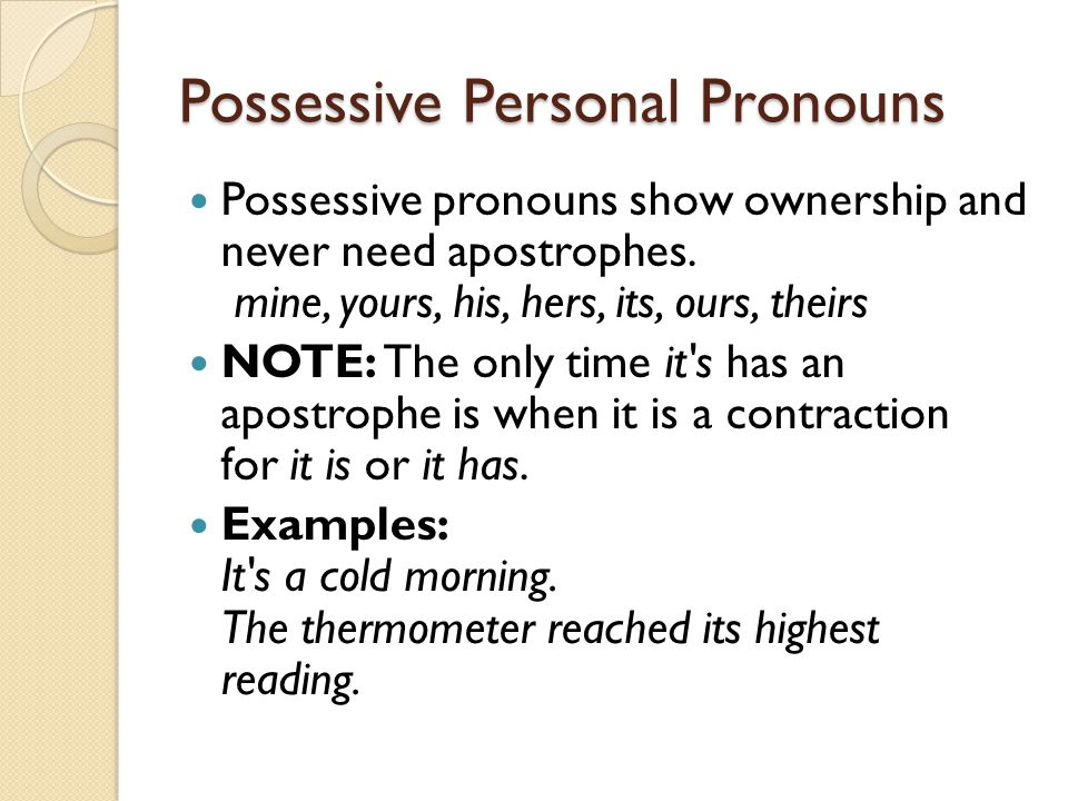 Possessive Personal Pronouns