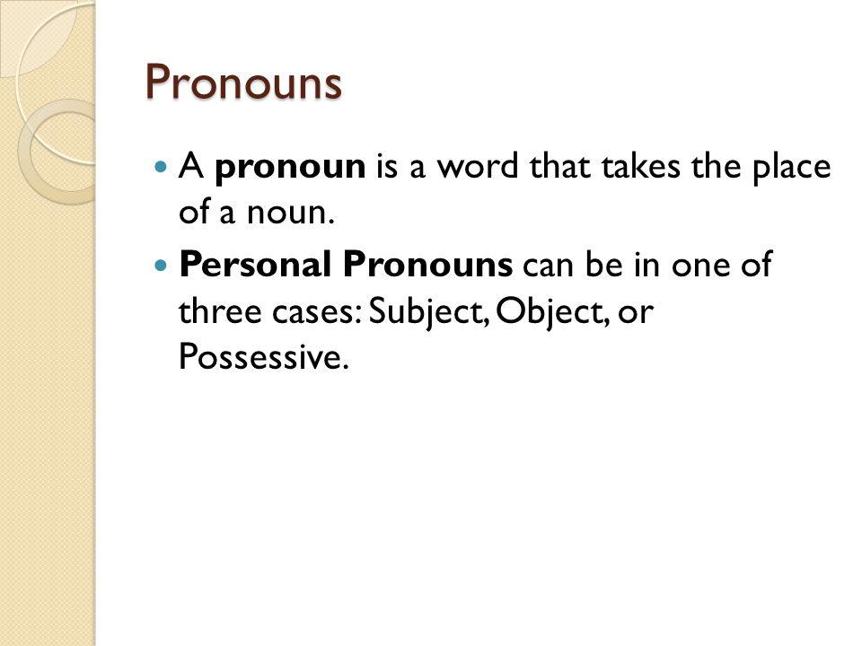 Pronouns A pronoun is a word that takes the place of a noun.