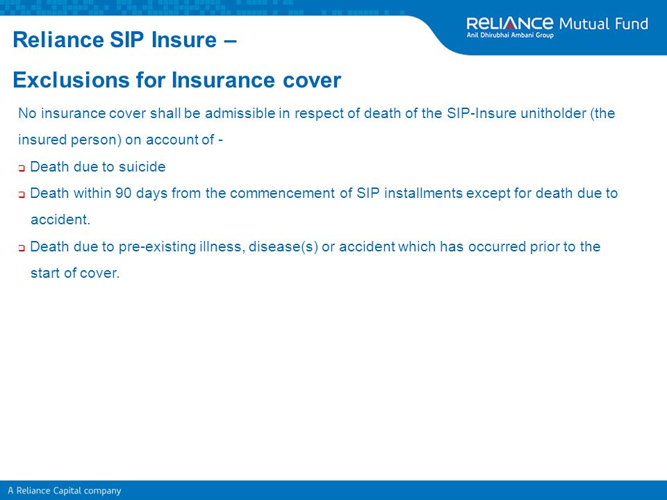 Exclusions for Insurance cover