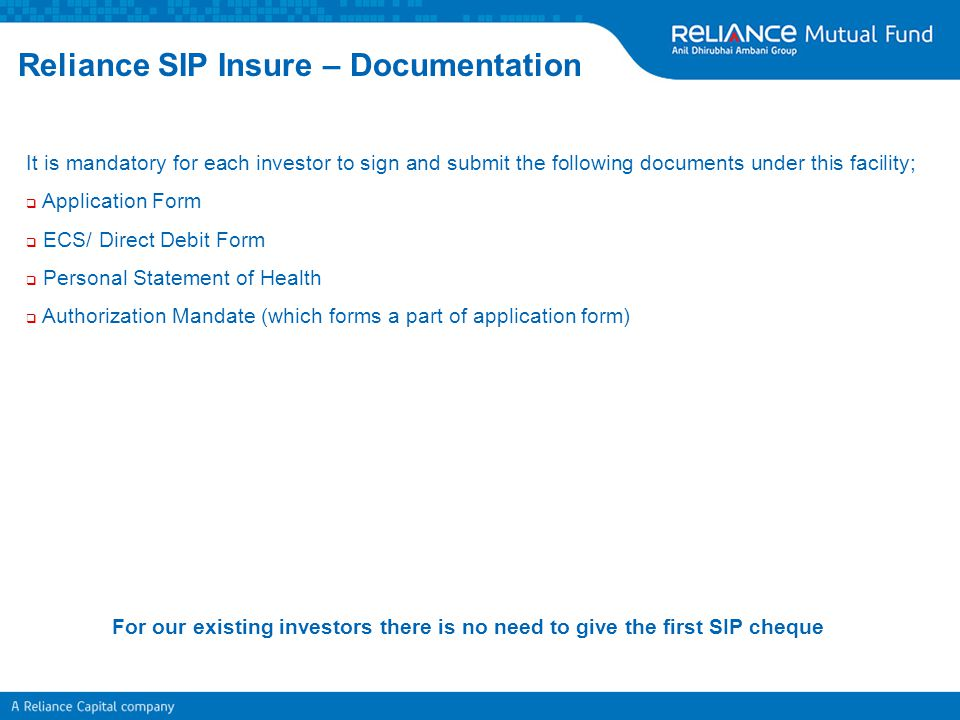 Reliance SIP Insure – Documentation
