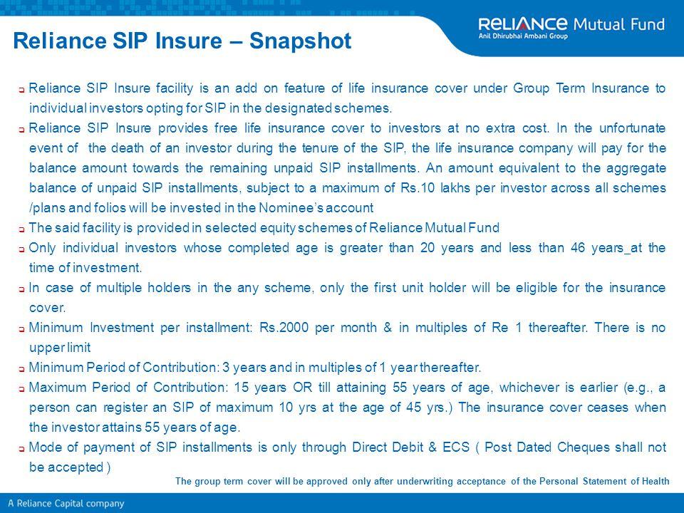 Reliance SIP Insure – Snapshot