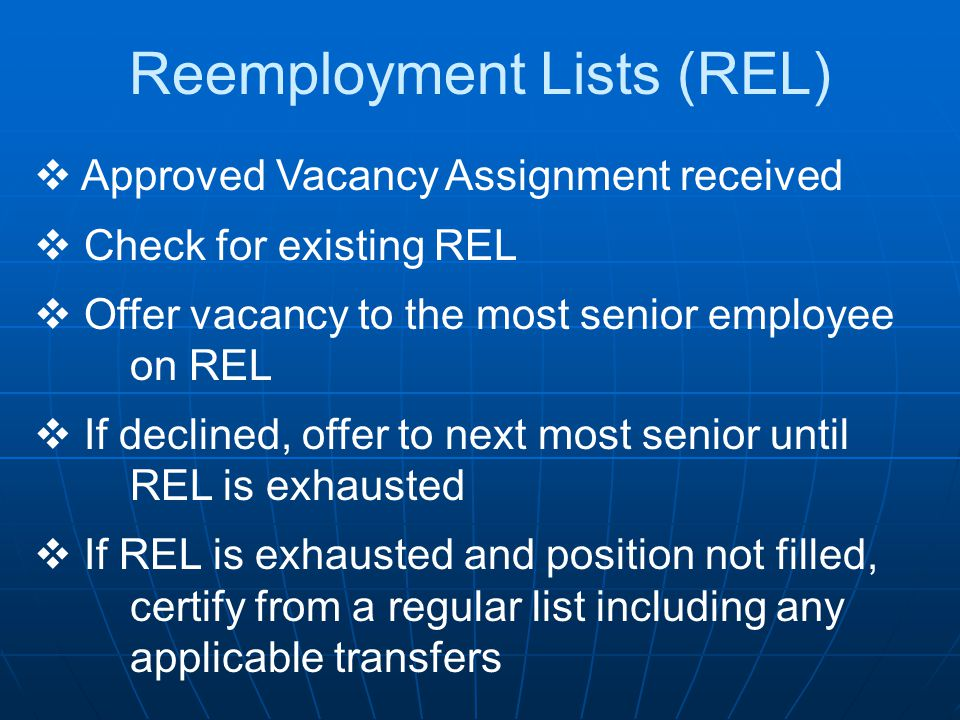 Reemployment Lists (REL)