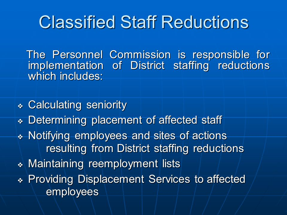 Classified Staff Reductions