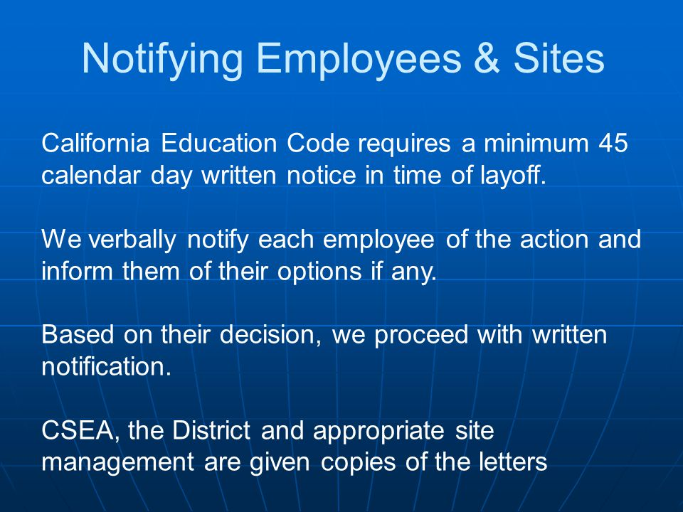 Notifying Employees & Sites