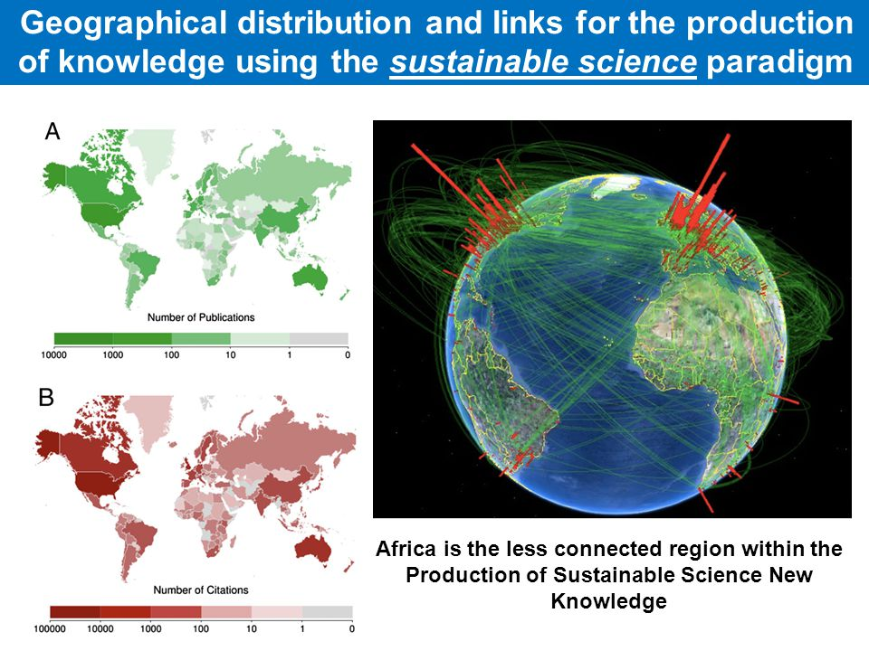 Geographical distribution and links for the production of knowledge using the sustainable science paradigm