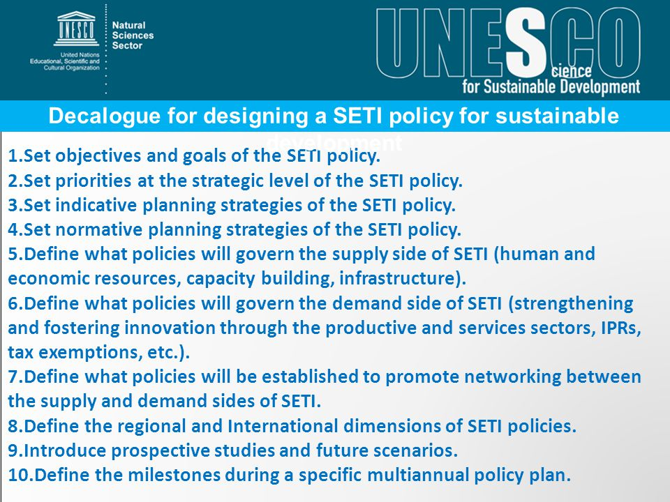 Decalogue for designing a SETI policy for sustainable development