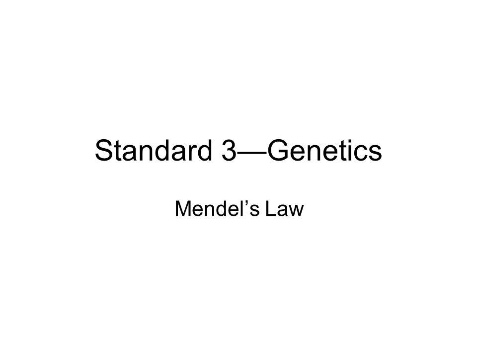 Standard 3—Genetics Mendel's Law 1