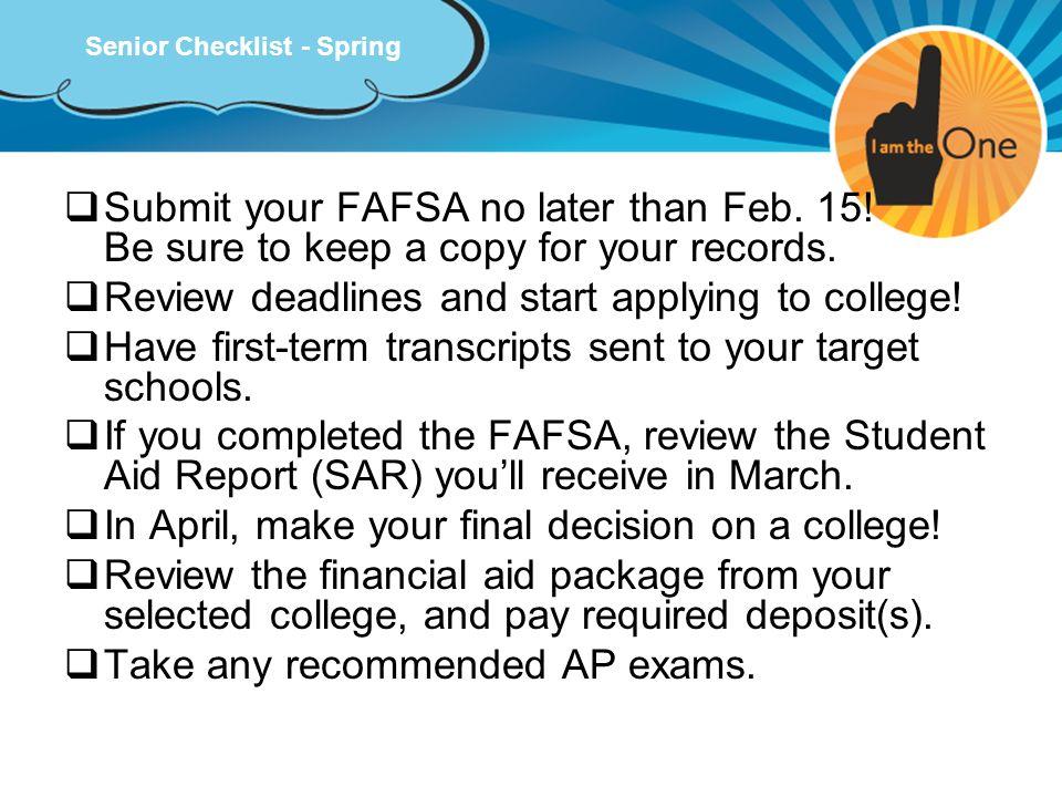 Senior Checklist - Spring