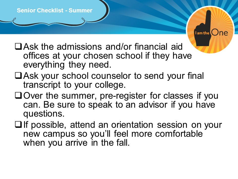 Senior Checklist - Summer