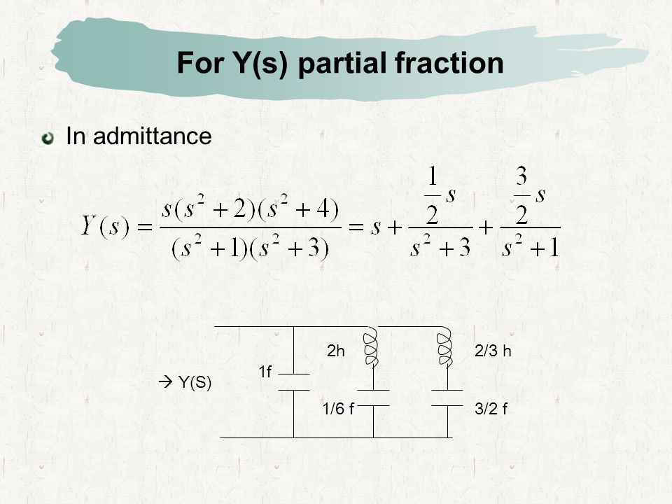 For Y(s) partial fraction