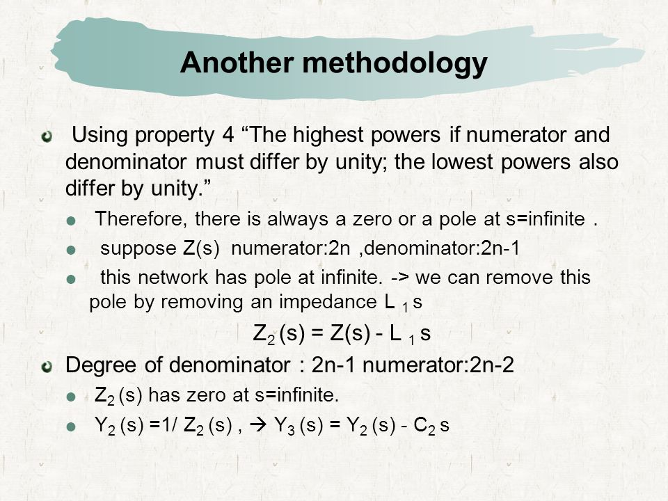 Another methodology Using property 4 The highest powers if numerator and denominator must differ by unity; the lowest powers also differ by unity.