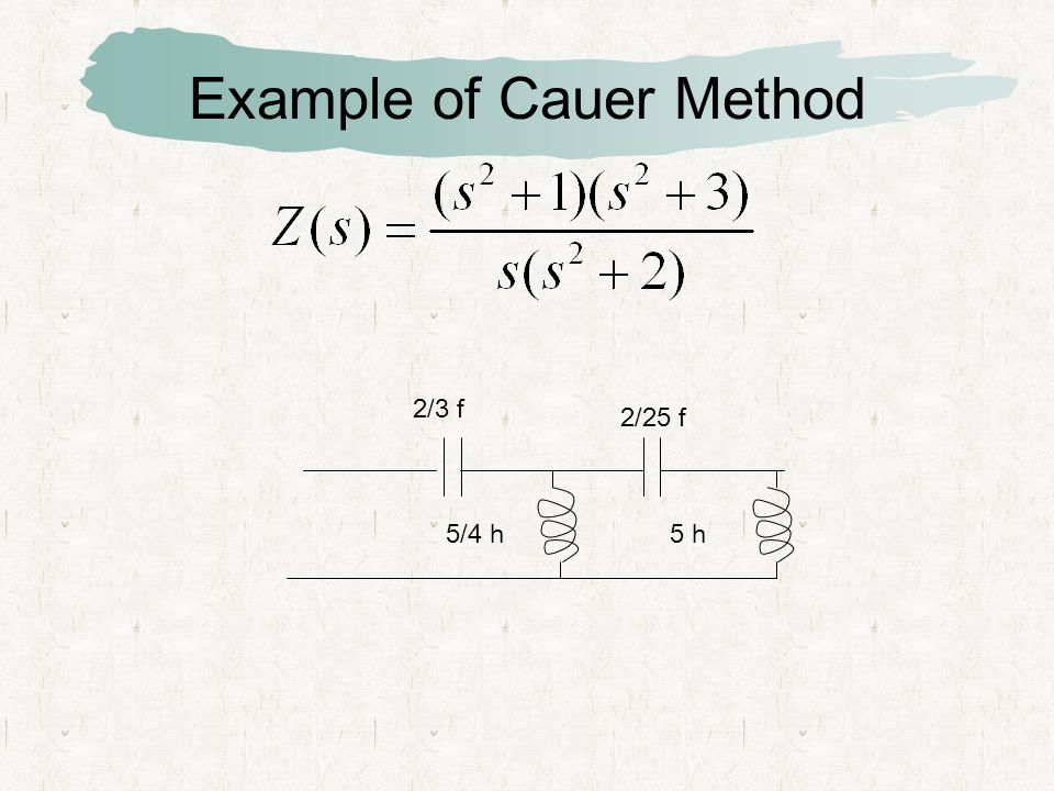 Example of Cauer Method