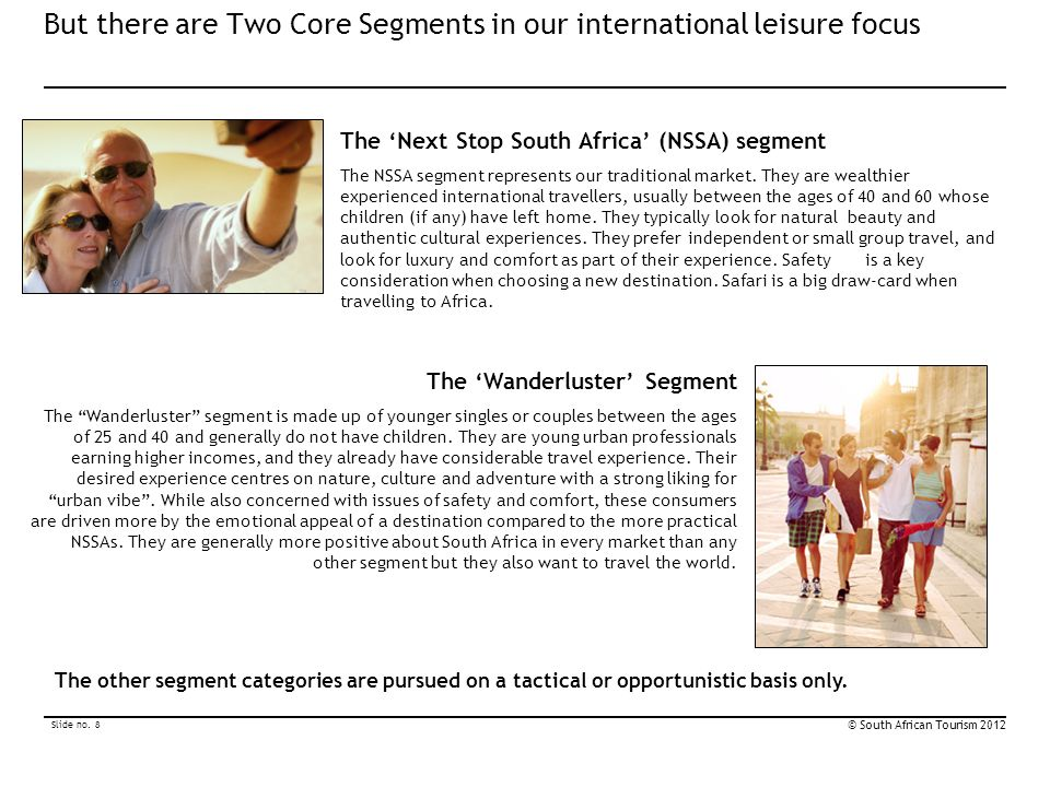 But there are Two Core Segments in our international leisure focus