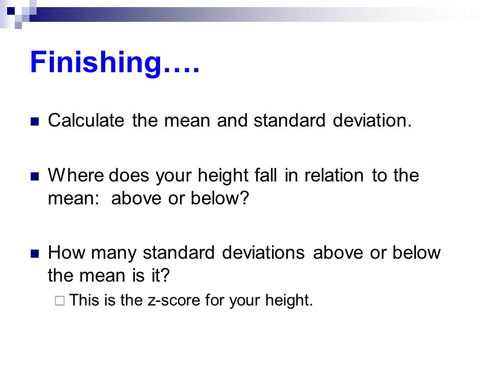 score standard deviation and mean relationship