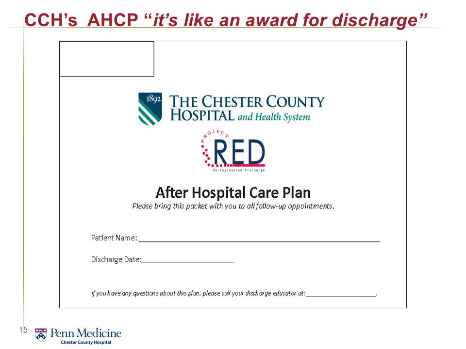 CCH's AHCP it's like an award for discharge