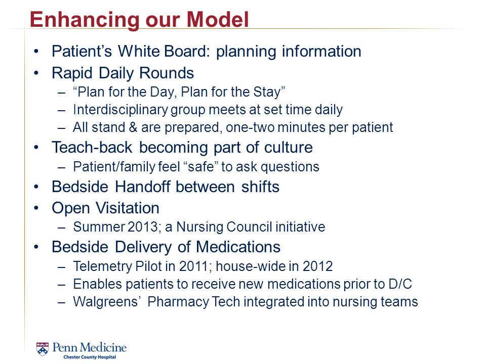 Enhancing our Model Patient's White Board: planning information
