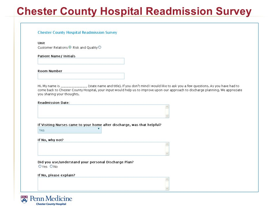 Chester County Hospital Readmission Survey