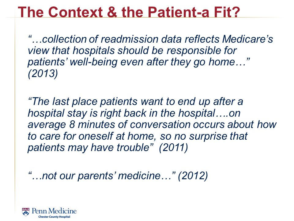 The Context & the Patient-a Fit