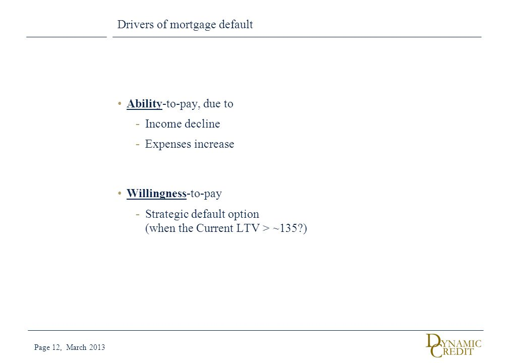 Drivers of mortgage default